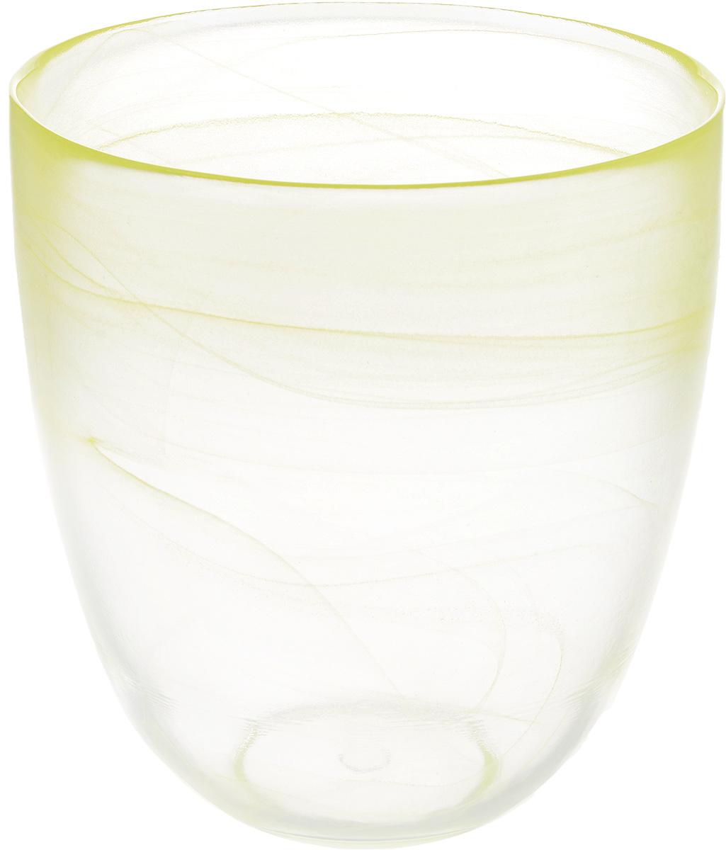 Кашпо NiNaGlass, цвет: прозрачный, желтый, высота 18 см531-401Кашпо NiNaGlass имеет уникальную форму, сочетающуюся как с классическим, так и с современным дизайном интерьера. Оно изготовлено из высококачественного стекла и предназначено для выращивания растений, цветов и трав в домашних условиях. Кашпо NiNaGlass порадует вас функциональностью, а благодаря лаконичному дизайну впишется в любой интерьер помещения. Диаметр кашпо (по верхнему краю): 16 см.Высота кашпо: 18 см.