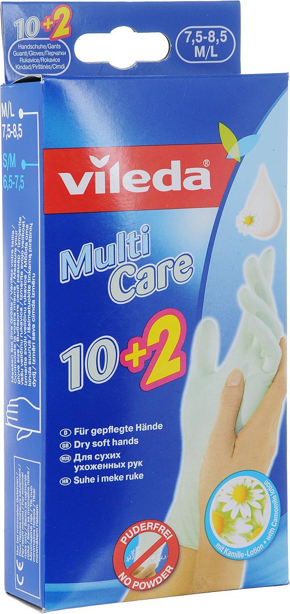 Одноразовые перчатки Vileda, с бальзамом, 12 шт. Размер M/L531-105Одноразовые перчатки Vileda помогут предотвратить воздействие чистящих средств и воды на ваши руки. Особенности одноразовых перчаток Vileda: - защищают руки от грязи и запахов; - гигиенические (одно применение); - обработаны бальзамом для мягкости; - легко надеваются и снимаются; - универсальное применение для: чистки рыбы, окрашивания волос, полировки обуви, рисования, лакокрасочных работ, легкой уборки.