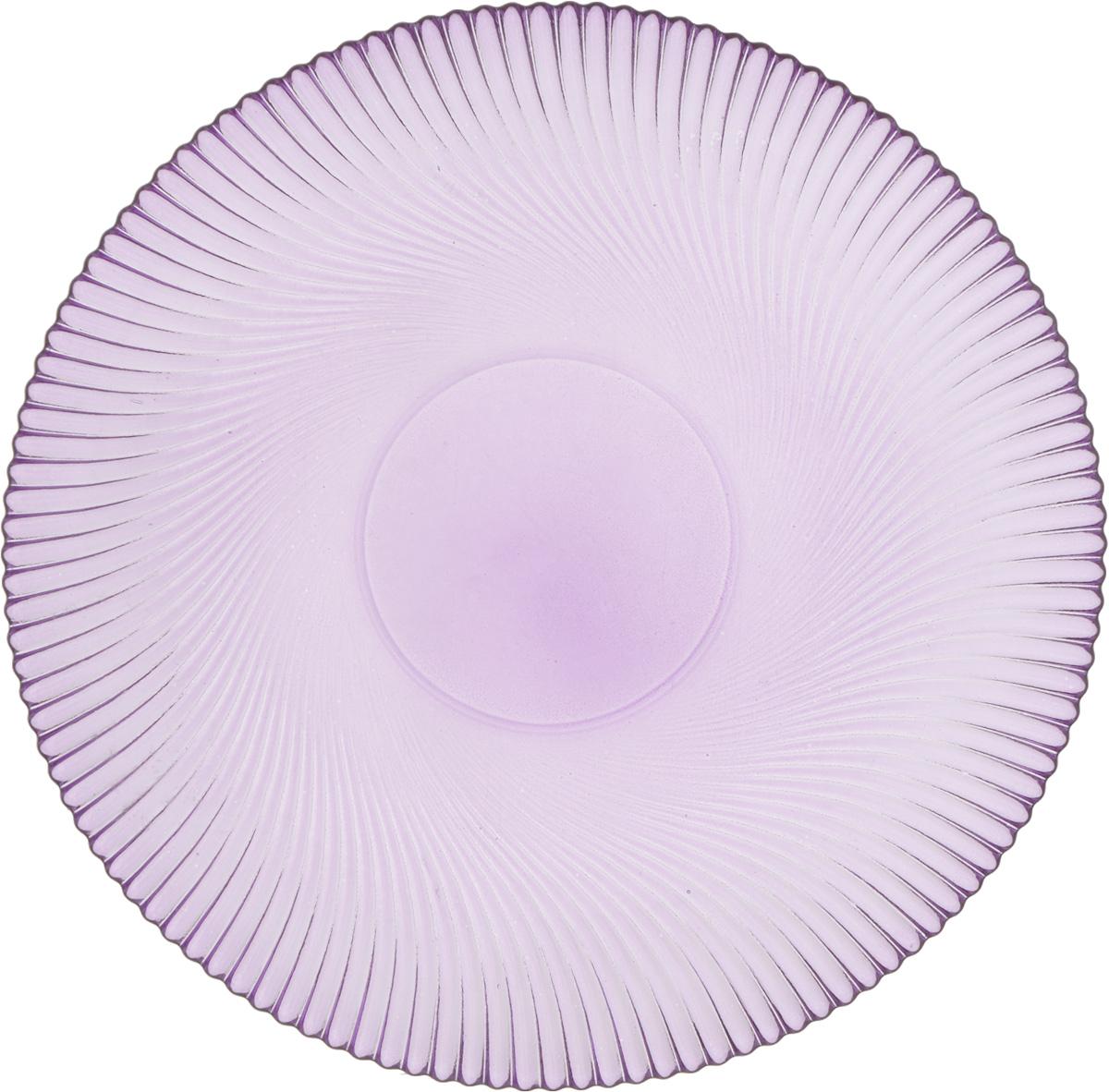Тарелка NiNaGlass Альтера, цвет: сиреневый, диаметр 26 смFS-91909Тарелка NiNaGlass Альтера выполнена из высококачественного стекла и имеет рельефную поверхность. Она прекрасно впишется в интерьер вашей кухни и станет достойным дополнением к кухонному инвентарю.Не рекомендуется использовать в микроволновой печи и мыть в посудомоечной машине.