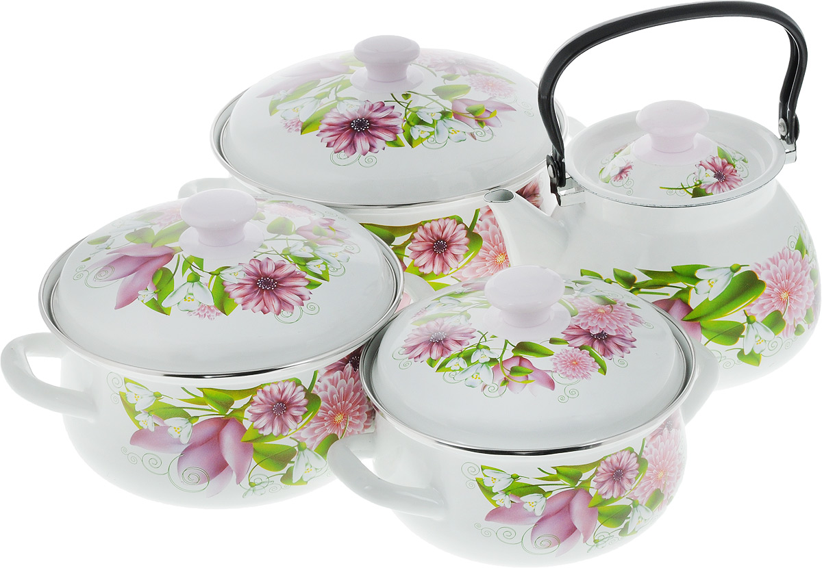 Набор посуды КМК Весна, 8 предметовВеснаНабор посуды КМК Весна, состоящий из чайника и трех кастрюль с крышками, изготовлен из высококачественной стали с эмалированным покрытием и оформлен изображением цветов. Эмалевое покрытие, являясь стекольной массой, не вызывает аллергии и надежно защищает пищу от контакта с металлом. Внутренняя поверхность идеально ровная, что значительно облегчает мытье. Покрытие устойчиво к механическому воздействию, не царапается и не сходит, а стальная основа практически не подвержена механической деформации, благодаря чему срок эксплуатации увеличивается. Кастрюли и чайник оснащены крышками, выполненными из стали с эмалированным покрытием, которые имеют удобные пластиковые ручки. Чайник оснащен стальной ручкой. Подходят для всех типов плит, включая индукционные. Можно мыть в посудомоечной машине. Высота стенок кастрюль: 9,5 см; 11 см; 12,5 см. Диаметр кастрюль (по верхнему краю): 18 см; 20 см; 23 см. Ширина кастрюль (с учетом ручек): 26 см; 28 см; 31 см.Объем кастрюль: 2 л; 3 л; 4 л. Диаметр чайника (по верхнему краю): 13,5 см. Высота чайника (без учета крышки и ручки): 14 см. Объем чайника: 3 л.