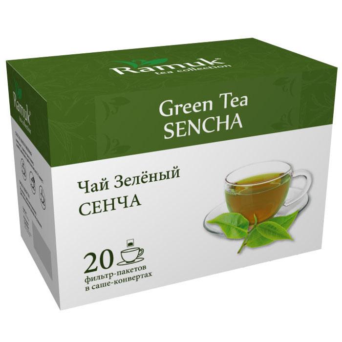 Ramuk чай зеленый в пакетиках, 20 шт00-00000389Китайский традиционный зеленый чай Сенча - очень качественный сорт зеленого чая. Его собирают вручную в середине весны. Листья Сенча темно-зеленого цвета и имеют интересный игольчатый вид. Уникальная техника приготовления чая позволяет сохранить максимум витаминов и микроэлементов. Настой имеет глубокий, изумрудный цвет, обладает тонким ароматом и нежным вкусом.