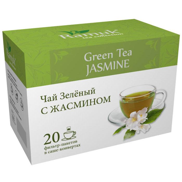 Ramuk чай зеленый с жасмином в пакетиках, 20 шт0120710Чай зеленый с цветками жасмина имеет утонченный сладкий аромат, это самый популярный душистый чай в Китае. Считается, что жасмин принесен в Китай из Персии в глубокой древности - во II—V веках. Он выращивается на большой высоте на горных плантациях. В качестве производителей жасминового чая, наиболее известны китайские провинции Хунань, Цзянсу, Гуандун, Гуанси, и Чжэцзян. Наилучшей репутацией пользуется чай из провинции Фуцзянь.
