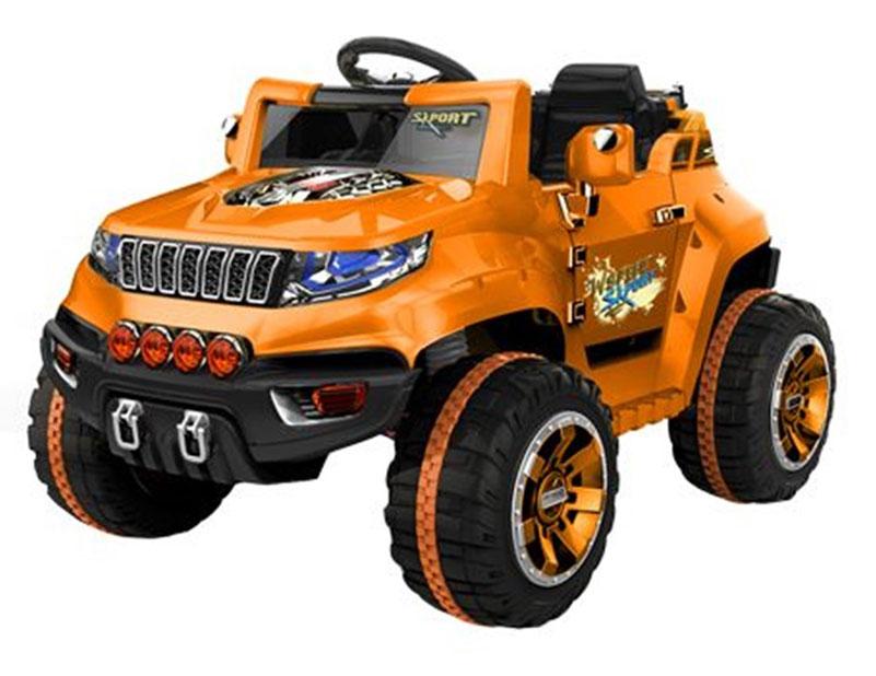 1TOY Электромобиль Джип цвет оранжевый черный - Электромобили