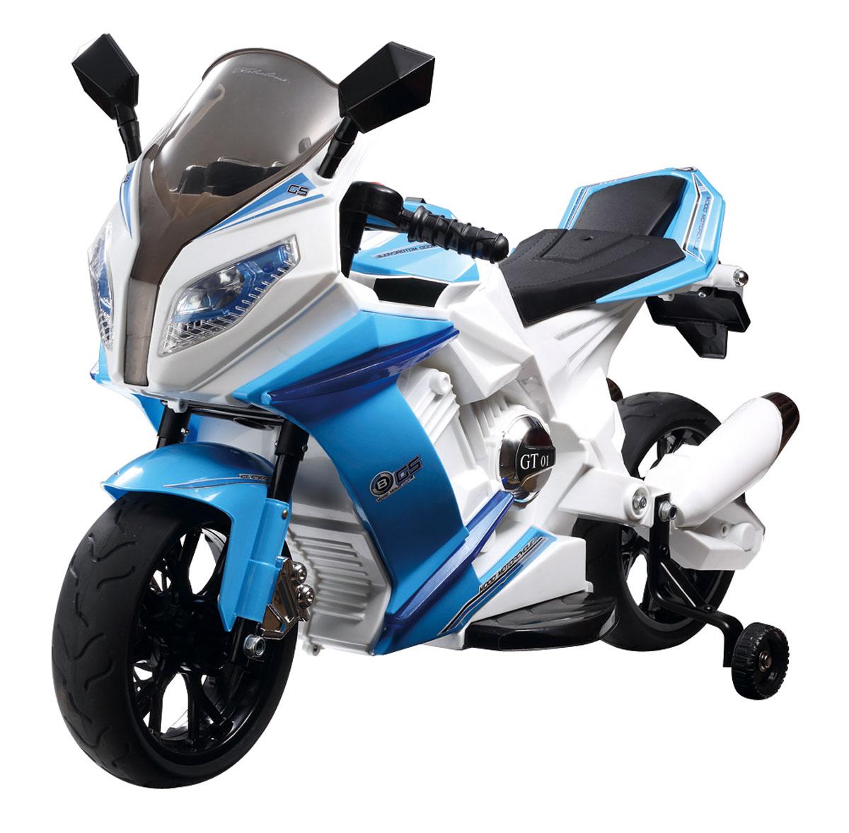 1TOY Мотоцикл аккумуляторный цвет белый голубой - Электромобили