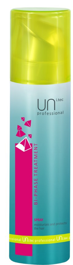 Uni.tec Спрей для волос увлажняющий с УФ-фильтрами Bi-Phase Treatment, 200 мл1854732Воздействие жары, солнечного излучения, холода, кондиционеров негативно сказывается на волосах, обезвоживает и истощает их. Двухфазный спрей увлажняет и реструктурирует капиллярное волокно. Предупреждает обесцвечивание волос, защищая естественные и искусственные пигменты от воздействия свободных радикалов и окисляющих эффектов. Волосы надежно защищены в любое время года, наполнены силой и имеют здоровый вид. Применение: тщательно взболтайте перед использованием. Нанесите на вымытые, высушенные полотенцем волосы по всей длине. Не смывать. В летнее время рекомендуется наносить спрей на сухие волосы для дополнительного увлажнения и защиты от солнца перед выходом на улицу.