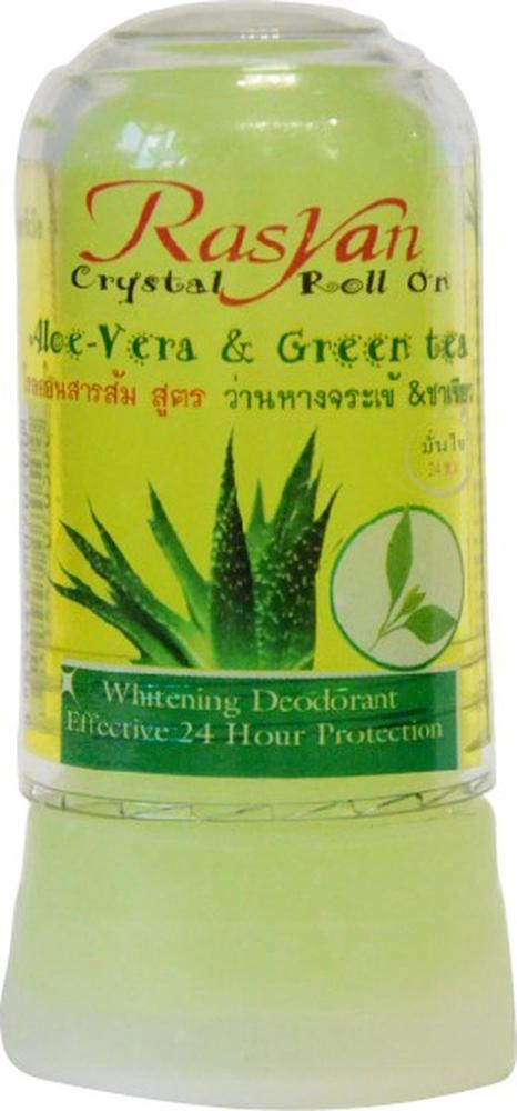 RasYan Дезодорант-кристалл с алоэ вера и зеленым чаем, 80 гр.MP59.4DСостоит из твердых солей квасцов вулканического происхождения, защищает от пота и неприятного запаха без закупорки потовых протоков, обладает антибактериальным и увлажняющим эффектами, поскольку борется с бактериями, являющимися причинами появления запаха, экономичен, обладает длительным периодом действия, не оставляет следов на одежде, не раздражает кожу. Подходит для чувствительной кожи.