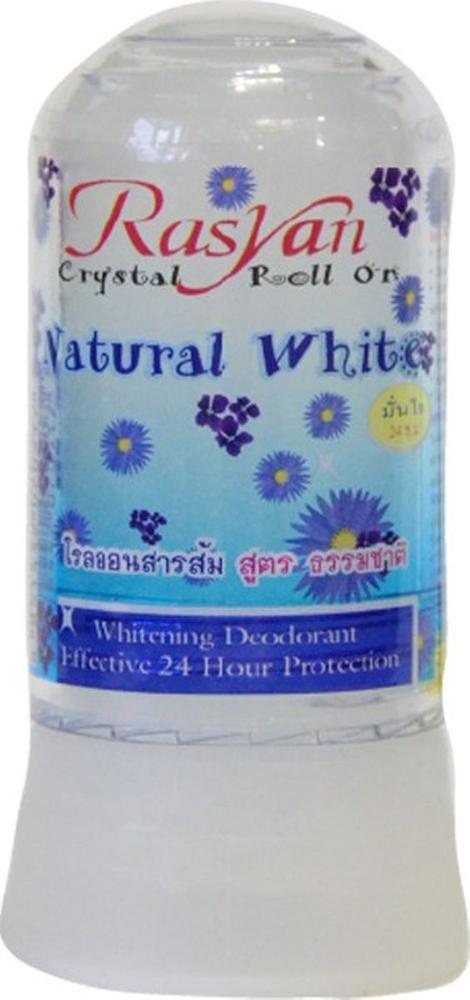 RasYan Дезодорант-кристалл натуральный белый, 80 гр.517Состоит из твердых солей квасцов вулканического происхождения, защищает от пота и неприятного запаха без закупорки потовых протоков, обладает антибактериальным и увлажняющим эффектами, поскольку борется с бактериями, являющимися причинами появления запаха, экономичен, обладает длительным периодом действия, не оставляет следов на одежде, не раздражает кожу. Подходит для чувствительной кожи.