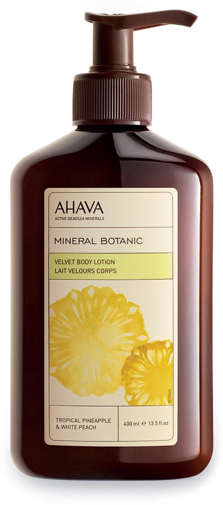 Ahava Mineral Botanic Бархатистый крем для тела тропический ананас и белый персик 400 мл80323065Побалуйте свою кожу восхитительным ароматизированным лосьоном для тела на основе тропического ананаса и белого персика. Содержит патентованное средство компании AHAVA Osmoter™, сбалансированный концентрат минералов Мертвого моря.