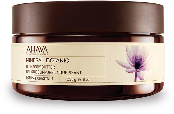Ahava Mineral Botanic Насыщенное масло для тела лотос и благородный каштан 235 гр80623065Мягкое и ультра питательное крем-масло для тела обеспечивает интенсивное увлажнение в течение всего дня. Масло персика, масло Ши смягчают и питают вашу кожу. Нежное сочетание лотоса и сладкого каштана обладает уникальными защитными свойствами.
