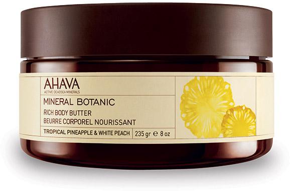 Ahava Mineral Botanic Насыщенное масло для тела тропический ананас и белый персик 235 грFS-00897Мягкое и ультра питательное крем-масло для тела обеспечивает интенсивное увлажнение в течение всего дня. Масло персика, масло Ши смягчают и питают вашу кожу. Содержит комплекс Osmoter Ahava - сбалансированный концентрат минералов Мертвого моря.