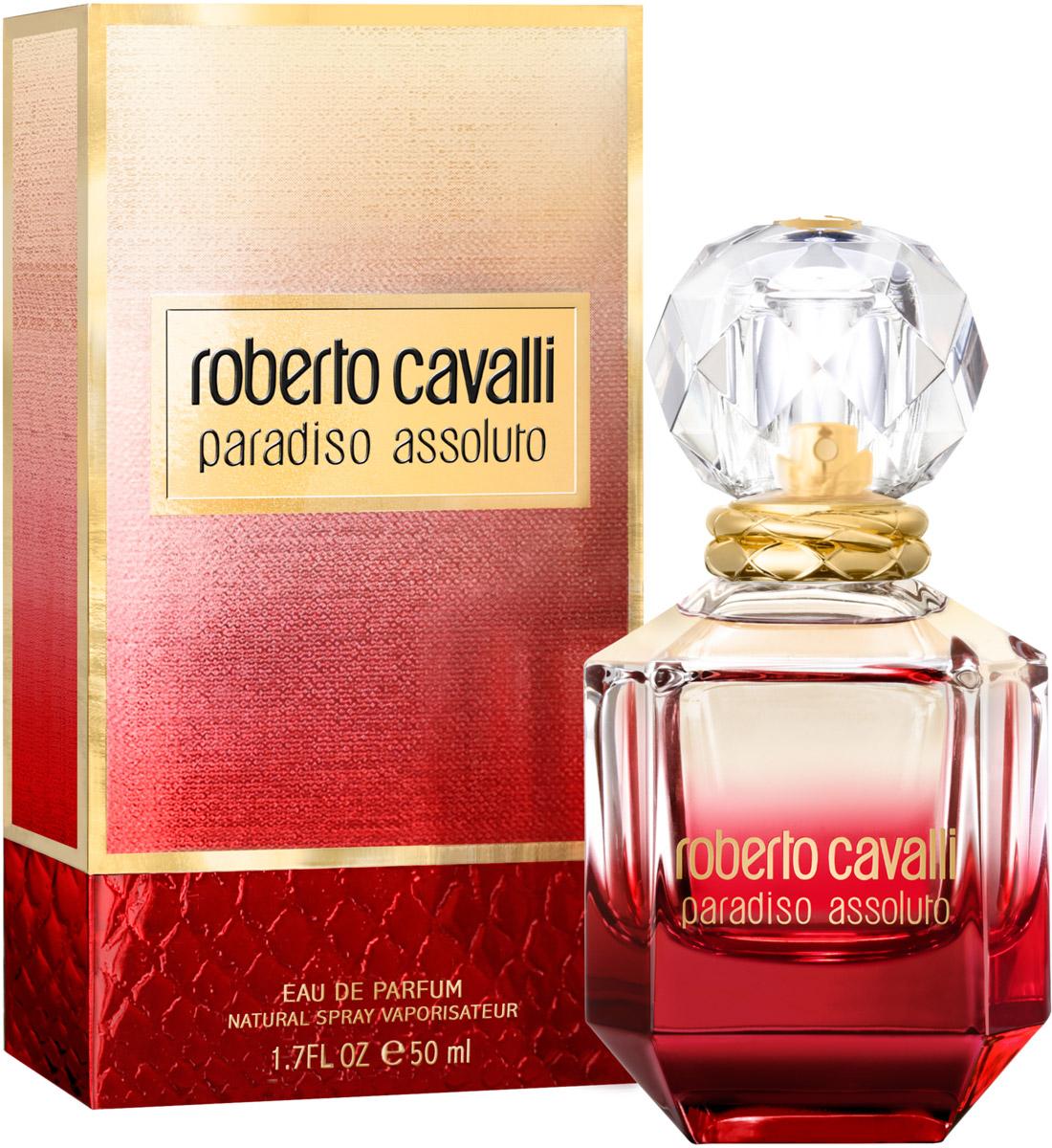 Roberto Cavalli Paradiso Assoluto женская Парфюмерная вода 50 млGESS-306Флакон аромата Paradiso Assoluto в форме красного бриллианта выполнен из стекла и увенчан крышкой в виде кристалла. Металлические кольца на горлышке флакона напоминают о любимых брендом анималистичных принтах.