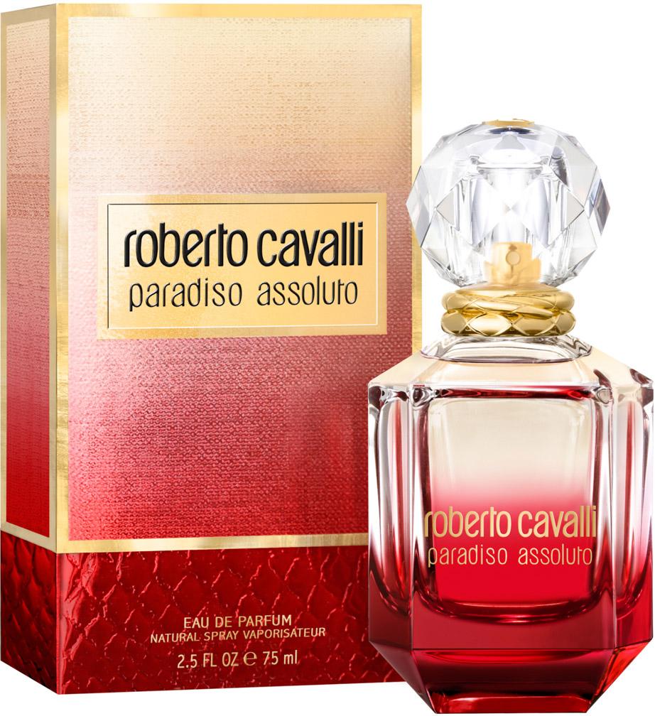 Roberto Cavalli Paradiso Assoluto женская Парфюмерная вода 75 мл0003929Флакон аромата Paradiso Assoluto в форме красного бриллианта выполнен из стекла и увенчан крышкой в виде кристалла. Металлические кольца на горлышке флакона напоминают о любимых брендом анималистичных принтах.