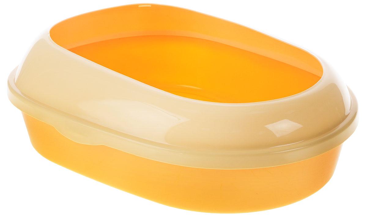 Туалет для кошек  Каскад , с бортом, цвет: желтый, кремовый, 51 х 37 х 17 см - Наполнители и туалетные принадлежности