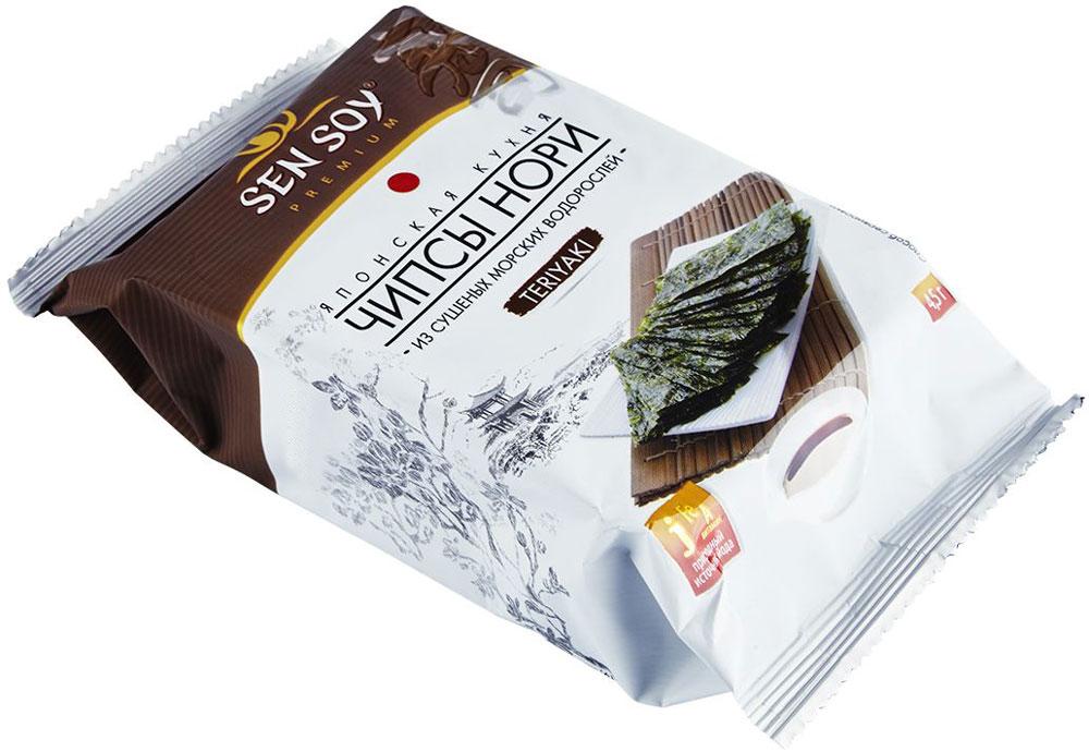 Sen Soy Чипсы Нори из морской капусты Teriyaki, 4,5 г0120710Чипсы Нори Терияки - это гармоничное сочетание насыщенного вкуса соевого соуса Teriyaki и специфического вкуса водорослей. Хрустящие пластинки нори, обжаренные на кунжутном и кукурузном масле, сохраняют все исключительные свойства морских водорослей, а соевый соус придает чипсам особый яркий вкус.