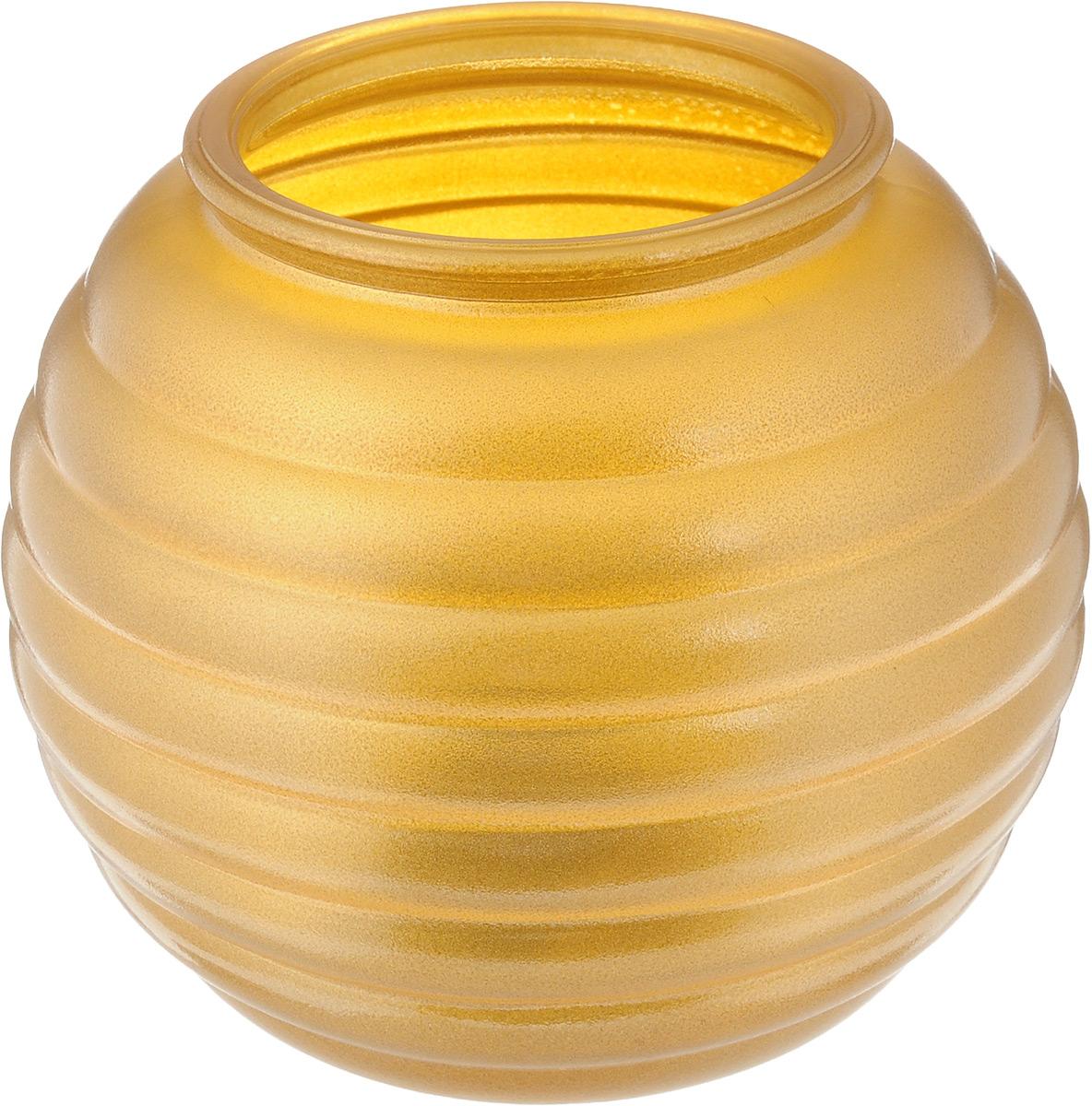 Ваза NiNaGlass Зара, цвет: золотистый, высота 13,3 см54 009312Ваза NiNaGlass Зара выполнена из высококачественного стекла и оформлена изящным рельефом. Такая ваза станет ярким украшением интерьера и прекрасным подарком к любому случаю.Высота вазы: 13,3 см.Диаметр вазы (по верхнему краю): 8 см.