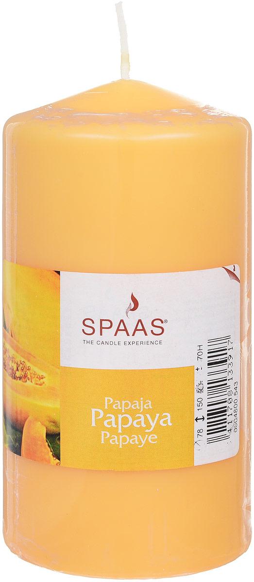 Свеча ароматизированная Spaas Папайя, высота 15 см337431Ароматизированная свеча Spaas Папайя изготовлена из парафина с добавлением натуральных красок и ароматизаторов, не выделяющих вредные вещества при горении. Фитиль выполнен из натурального хлопка. Оригинальная свеча с тонким, нежным ароматом добавит романтики в ваш дом и создаст неповторимую атмосферу уюта, тепла и нежности. Такая свеча не только поможет дополнить интерьер вашей комнаты, но и станет отличным подарком. Время горения: 70 ч.