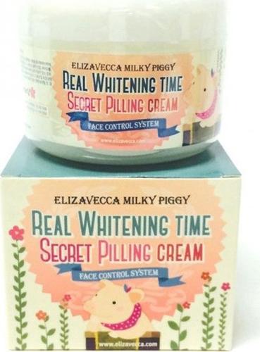 Elizavecca Пилинг-крем для лица Milky Piggy Real Whitening Time Secret Pilling Cream, 100 мл813166Деликатное отшелушивание омертвевших клеток приводит к тому, что выравнивается не только поверхность кожи, но и ее тон. Эффект пилинга достигается за счет присутствия в составе крема гликоливой и салициловой кислот.