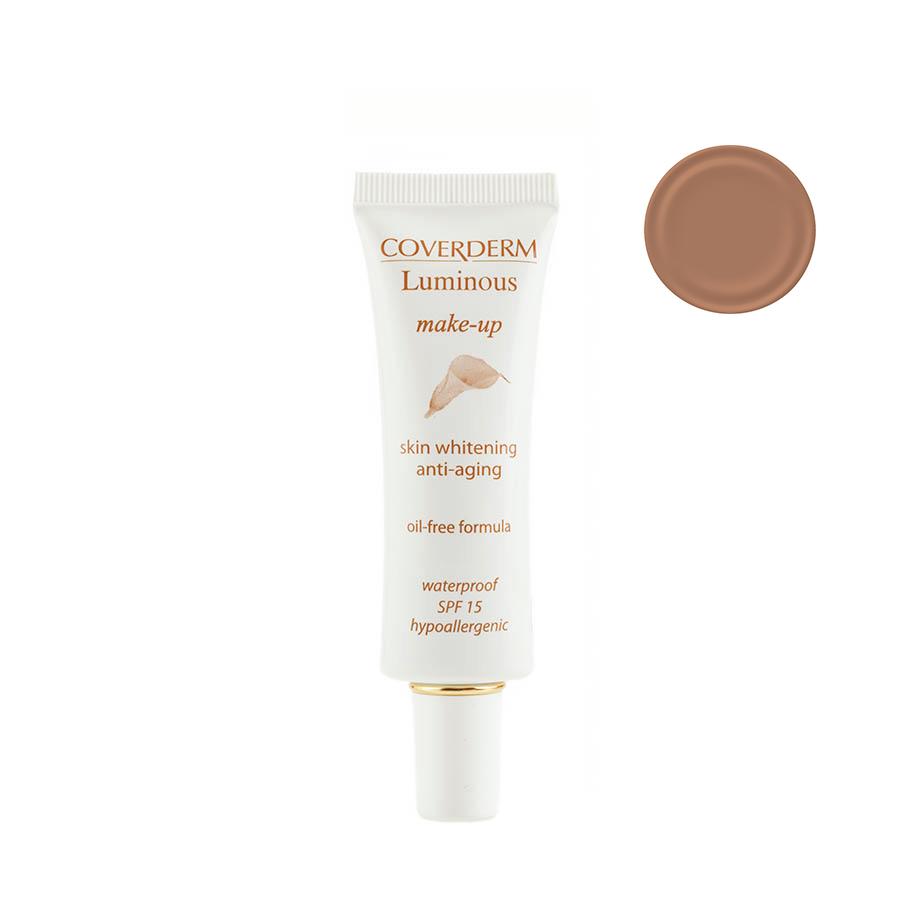 Coverderm Luminous Make-up Антивозрастной тональный крем против пигментации Colorceuticals Тон №4 SPF 15, 30мл347756991032 в 1 – уход и макияж в течение дня! Инновационная формула тонального крема Luminous Make-up содержит Альфа-арбутин и инкапсулированный Витамин С, благодаря этому оказывает отбеливающий и антивозрастной эффект. Идеально маскирует недостатки кожи, усиливает действие отбеливающих косметических средств. Специальные характеристики: водостойкий, гипоаллергенный, идеально держится в течение долгого времени, не содержит масел, обеспечивает UVA/UVB защиту, крем имеет мягкую жидкую текстуру, легко наносится. Подходит для всех типов кожи.