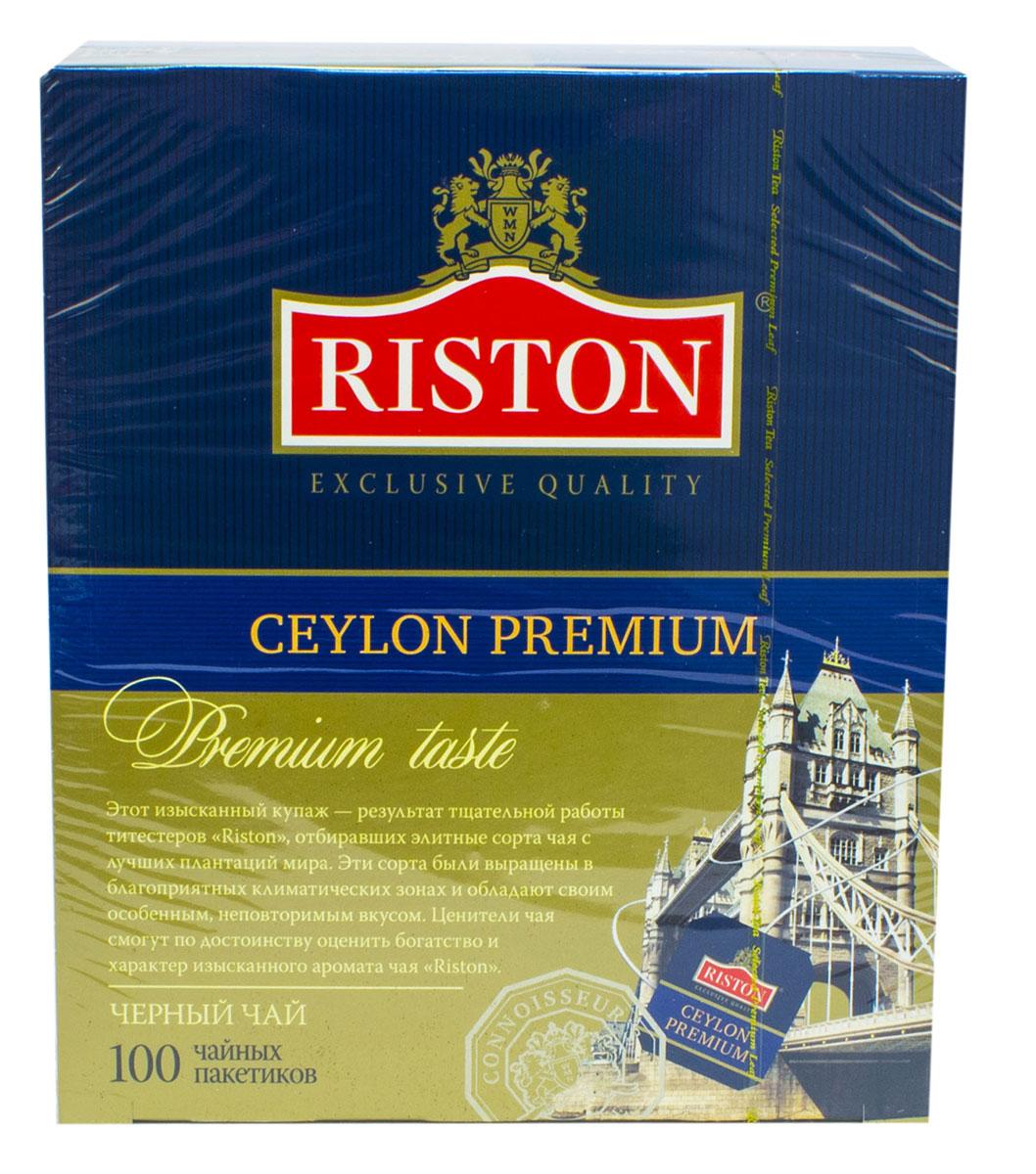 Riston Цейлонский Премиальный черный чай в пакетиках, 100 шт80116-00Этот изысканный купаж - результат тщательной работы титестеров Riston, отбиравших элитные сорта чая с лучших плантаций мира. Эти сорта были выращены в благоприятных климатических зонах и обладают своим особенным, неповторимым вкусом. Ценители чая смогут по достоинству оценить богатство и характер изысканного аромата чая Riston.Крепкий настой Цейлонского Премиального чая с классическим вкусом с лучших плантаций Шри-Ланки дарит бодрость, наполняя атмосферу чаепития насыщенным ярким ароматом, что дает чувство необыкновенного комфорта.