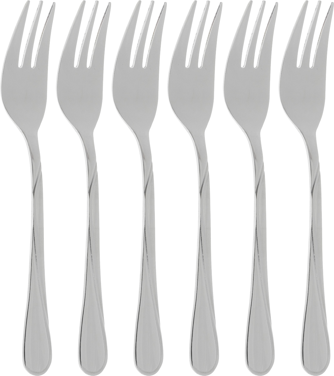 Набор десертных вилок Bohmann Длинная волна № 2, 6 шт115510Набор десертных вилок Bohmann Длинная волна № 2 займет достойное место среди аксессуаров на вашей кухне. В набор входит 6 предметов. Вилки изготовлены из нержавеющей стали и имеют эргономичные ручки.Эффектный дизайн, качество изготовления и многофункциональность в использовании позволяют выделить десертные вилки Bohmann Длинная волна №2 из ряда подобных.Длина вилок: 14,5 см.