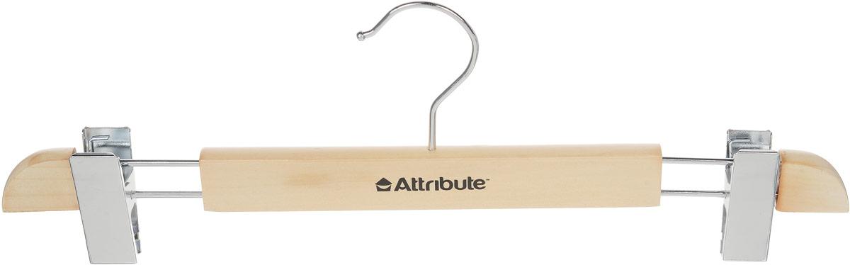 Вешалка для юбок Attribute Hanger, с клипсами, цвет: дерево, длина 37,5 см41619Вешалка Attribute Hanger изготовлена из дерева и металла, снабжена клипсами для юбок. Клипсы имеют специальные пластиковые вставки, чтобы не повредить ткань. Вешалка - это незаменимый аксессуар для того, чтобы ваша одежда всегда оставалась в хорошем состоянии. Длина вешалки: 37,5 см.