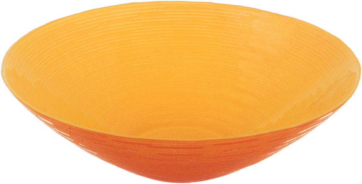 Миска NiNaGlass Риски, цвет: оранжевый, диаметр 25,5 см115510Миска NiNaGlass Риски выполнена из высококачественного стекла и имеет рельефную поверхность. Она прекрасно впишется в интерьер вашей кухни и станет достойным дополнением к кухонному инвентарю. Не рекомендуется использовать в микроволновой печи и мыть в посудомоечной машине.Диаметр миски: 25,5 см.Высота стенки: 7,5 см.