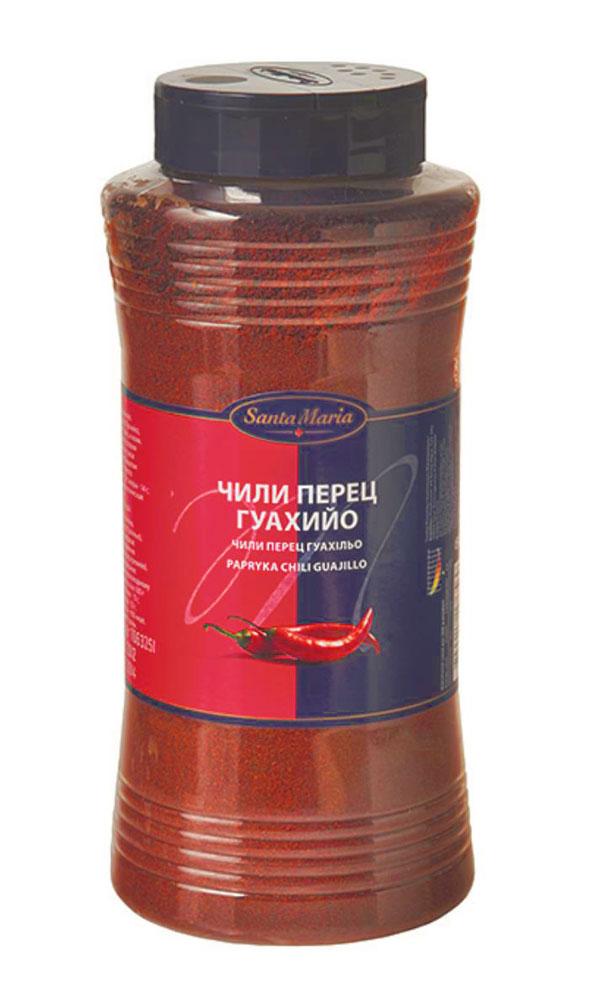 Santa Maria Чили перец Гуахийо, 500 г0120710Чили перец Гуахийо Santa Maria для горячих блюд, сальсы, маринадов или супов. Подходит к пасте, пряным бифштексам и рыбе, соусам, овощным блюдам, фруктам и ягодам, для жареного мяса и гриля, для блюд из фарша и дичи. Молотый чили придает блюду красивый красноватый цвет благодаря высокой концентрации перца, с оттенком вишни и легкой остроты чили. Уровень жгучести: 4 (по шкале от 1 до 10).