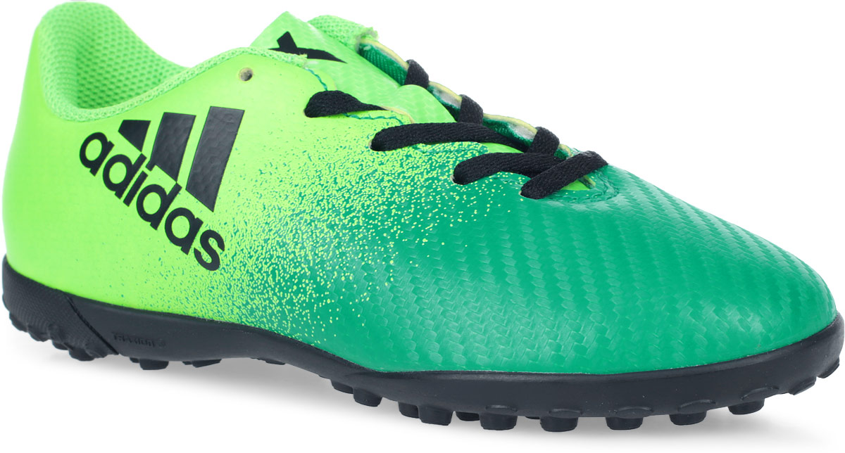 Бутсы для мальчика Adidas X 16.4 TF J, цвет: зеленый, светло-зеленый, черный. Размер 31 (30)BB5908Бутсы для мальчика Adidas X 16.4 TF J созданы для игры на искусственных поверхностях. Верх выполнен из текстиля с полимерным покрытием. Классическая шнуровка гарантирует удобство и надежно фиксирует модель на стопе. Стелька, выполненная из мягкого текстиля, обеспечивает комфорт и отличную амортизацию. Подошва с шипами гарантирует отличное сцепление с любым покрытием. В таких бутсах ваш мальчик станет победителем!