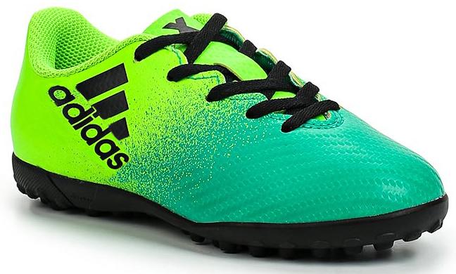 Бутсы для мальчика Adidas X 16.4 TF J, цвет: зеленый, светло-зеленый, черный. Размер 35 (34,5)BB5908Бутсы для мальчика Adidas X 16.4 TF J созданы для игры на искусственных поверхностях. Верх выполнен из текстиля с полимерным покрытием. Классическая шнуровка гарантирует удобство и надежно фиксирует модель на стопе. Стелька, выполненная из мягкого текстиля, обеспечивает комфорт и отличную амортизацию. Подошва с шипами гарантирует отличное сцепление с любым покрытием. В таких бутсах ваш мальчик станет победителем!