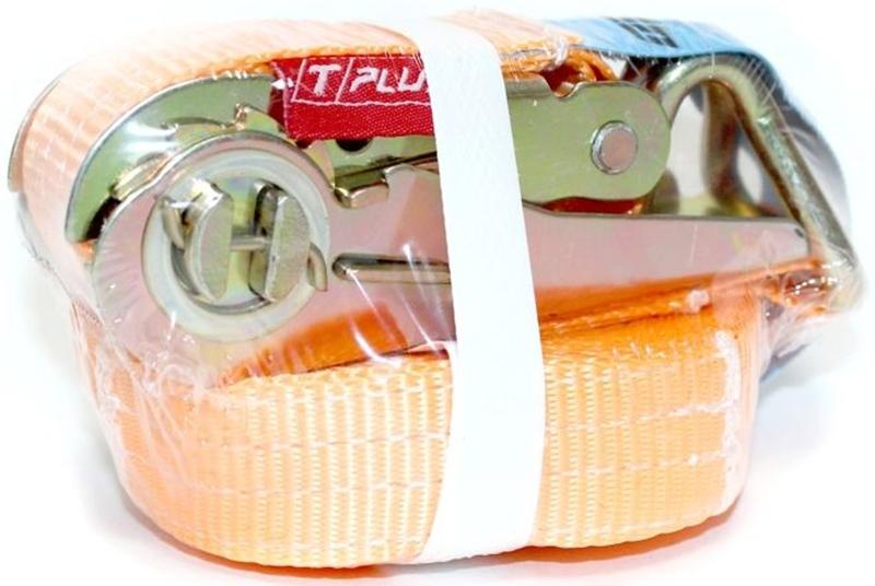 Ремень стяжной Tplus, 1/2 т, 10 мМ 109Стяжной ремень Tplus предназначен для фиксации грузов на транспорте. За счет ленты с замком он отлично подходит для крепления грузов, перевозимых даже на дальние расстояния. Предельная рабочая нагрузка (WLL): прямое крепление: 1 т; крепление в обхват: 2 т. Длина: 10 м. Ширина ленты: 25 мм. Материал: полиэстер.