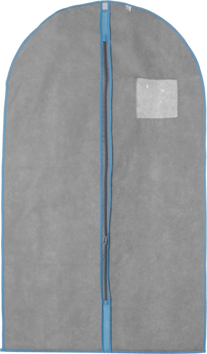 Чехол для одежды Хозяюшка Мила, тканевый, цвет: серый, голубой, 60 х 100 смRG-D31SЧехол для одежды Хозяюшка Мила изготовлен из вискозы и оснащен застежкой-молнией. Особое строение полотна создает естественную вентиляцию: материал дышит и позволяет воздуху свободно проникать внутрь чехла, не пропуская пыль. Прозрачное окошко позволяет увидеть, какие вещи находятся внутри. Чехол для одежды будет очень полезен при транспортировке вещей на близкие и дальние расстояния, при длительном хранении сезонной одежды, а также при ежедневном хранении вещей из деликатных тканей. Чехол для одежды Хозяюшка Мила защитит ваши вещи от повреждений, пыли, моли, влаги и загрязнений.