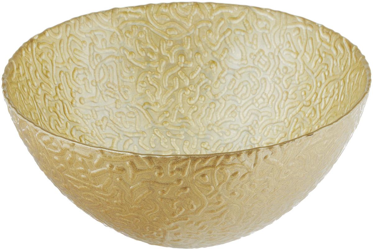 Салатник NiNaGlass Ажур, цвет: золотистый металлик, диаметр 20 см115510Салатник NiNaGlass Ажур выполнен из высококачественного стекла и декорирован рельефным узором. Идеален для сервировки салатов, овощей и фруктов, ягод, вторых блюд, гарниров и многого другого. Он отлично подойдет как для повседневных, так и для торжественных случаев.Такой салатник прекрасно впишется в интерьер вашей кухни и станет достойным дополнением к кухонному инвентарю.Диаметр салатника (по верхнему краю): 20 см.Высота стенки: 9 см.