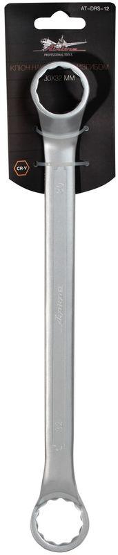 Ключ гаечный накидной Airline, с изгибом, 30 х 32 ммCA-3505Ключ гаечный накидной Airline изготовлен из высококачественной хром-ванадиевой стали. Тело ключа изготовлено методом горячей ковки, что придает ему высокую прочность и долговечность. Финишное прочное хромированное покрытие защищает ключ от воздействия коррозии, делает его более износостойким и легко очищается от загрязнений. Продуманный профиль накидной части ключа смещает пятно контакта с ребра грани на ее поверхность, что предотвращает повреждение болтов и гаек даже при самых высоких нагрузках. Эргономичный профиль рукоятки ключа позволяет развивать большее усилие без риска повреждения кистей рук. Встроенный прочный трещоточный механизм значительно повышает производительность труда и снижает нагрузки на организм.