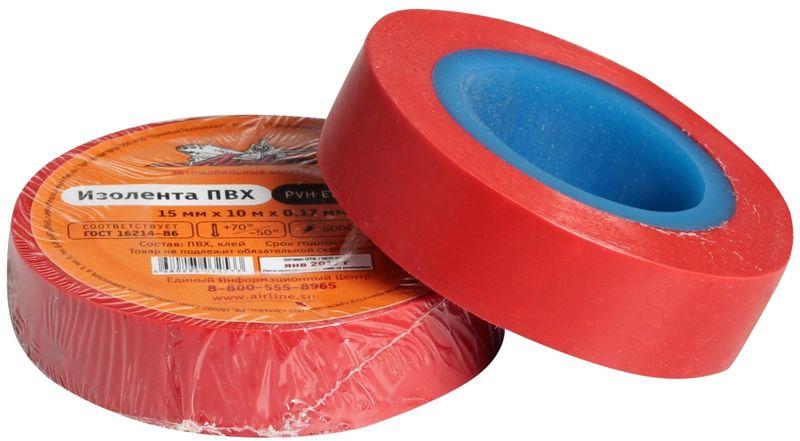 Изолента Airline, цвет: красный, 15 мм х 10 мAIT-P- 02Изоляционная лента Airline выполнена из ПВХ и представляет собой расходный материал, предназначенный для обмотки проводов и кабелей с целью их электроизоляции.Изолента изготавливается из поливинилхлоридной пленки с нанесенным на нее клеевым слоем и полностью соответствует ГОСТу. Также изолента имеет высокую силу адгезииНапряжение пробоя: 5000V. Длина ленты: 10 м. Ширина ленты: 15 мм.