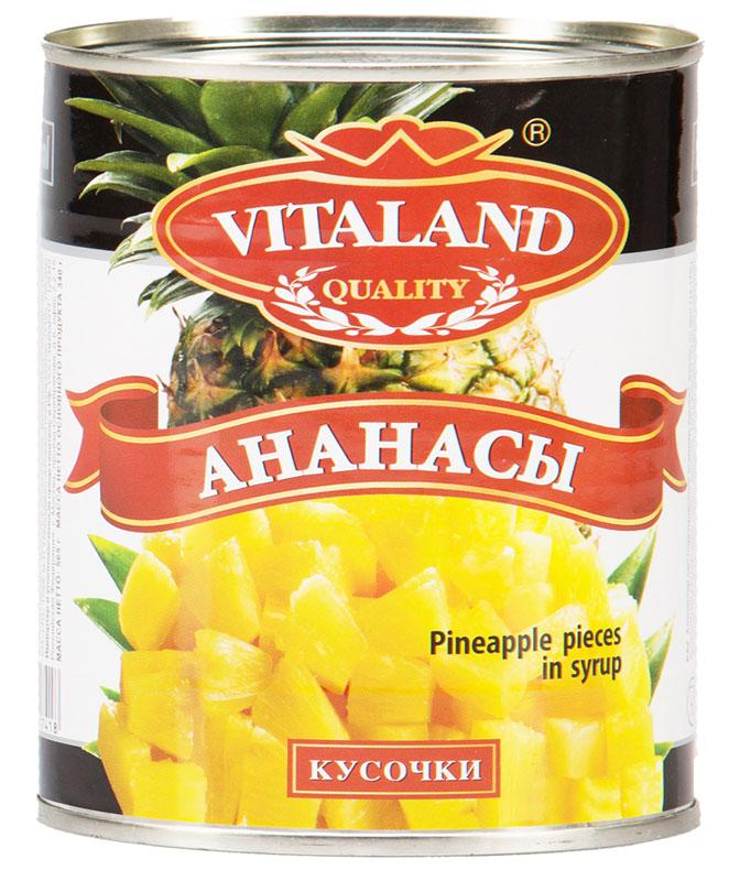 Vitaland ананасы кусочки, 850 мл0120710Кусочки ананасов, слегка подслащенные в сиропе.