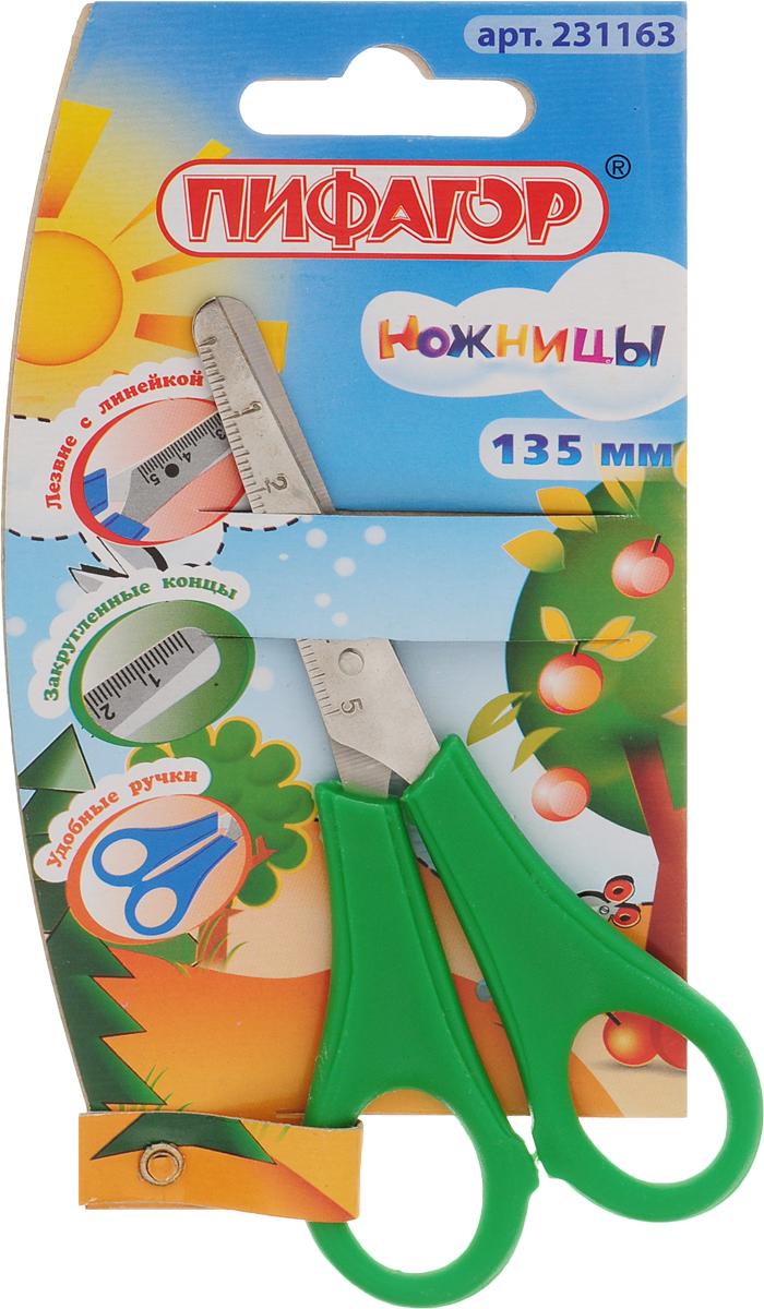 Пифагор Ножницы детские с линейкой цвет зеленый 13 смFS-54109Детские ножницы Пифагор прекрасно подойдут для детского творчества.Лезвия выполнены из стали с закругленными концами, что делает процесс работы с ними безопасным для ребенка.Ножницы хорошо справляются с резкой бумаги, ткани, картона и станут незаменимым помощником в процессе создания аппликаций и других поделок. Лезвия ножниц имеют линейку до 5 см.Предназначены для детей от пяти лет.
