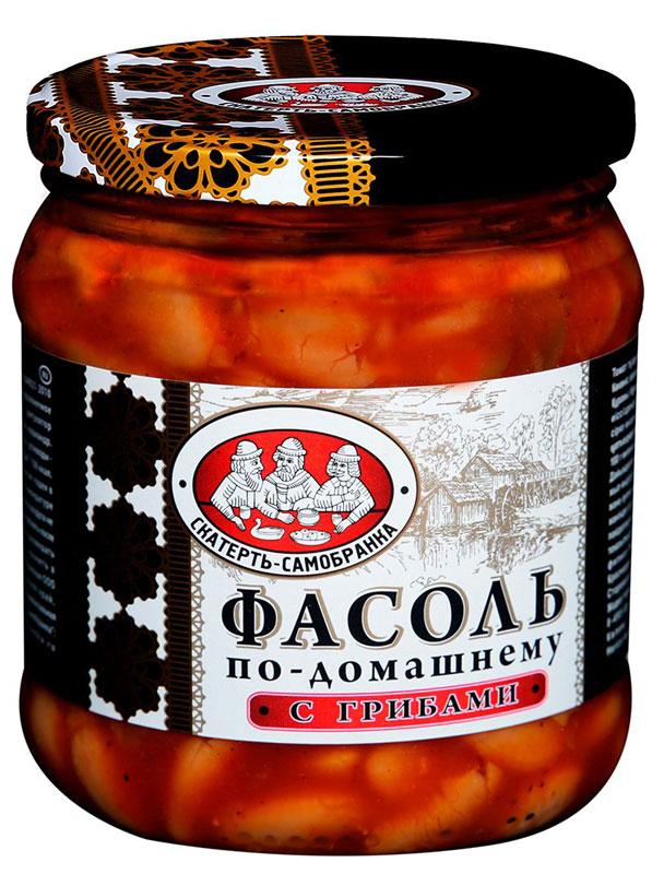 Скатерть-Самобранка фасоль с грибами, 450 мл0120710Фасоль в томатном соусе с грибами по-домашнему рецепту. Готовое блюдо станет превосходной закуской на праздничном столе.