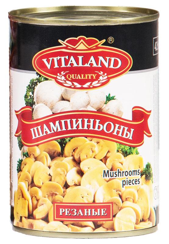 Vitaland шампиньоны резаные, 425 мл