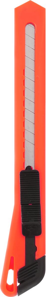 Brauberg Нож канцелярский цвет оранжевый 9 мм230914_оранжевыйУниверсальный канцелярский нож Brauberg с автоматической фиксацией предназначен для работы с бумагой, плотным картоном, пленкой и другими материалами.Корпус ножа выполнен из пластика с металлическими направляющими, исключающими перекос и выпадение лезвия в процессе интенсивного использования. Многосекционное лезвие изготовлено из высококачественной стали.