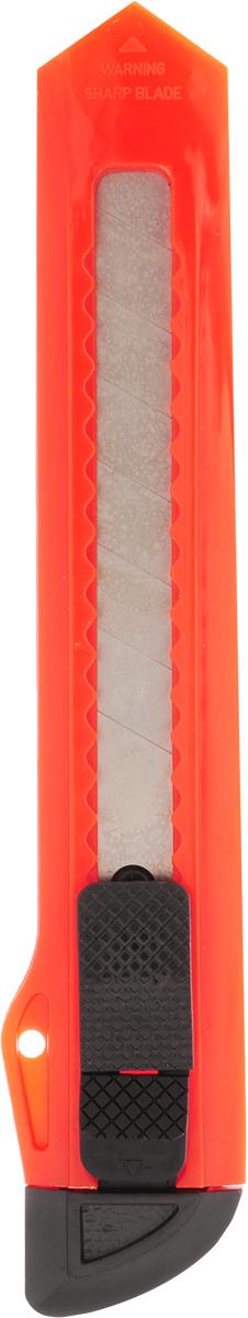 Erich Krause Нож канцелярский Standard цвет оранжевый 18 мм231613_оранжевыйКанцелярский нож Erich Krause Standard предназначен для работы с бумагой, плотным картоном, пленкой и так далее. Корпус ножа выполнен из пластика. Выдвижное многосекционное лезвие изготовлено из высококачественной нержавеющей стали. Нож оснащен плоским ручным фиксатором и системой блокировки лезвия Push-Lock.