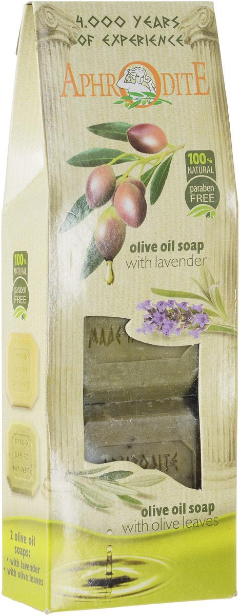 Aphrodite Мыло оливковое в наборе (лаванда & листья оливы), 220 г15032029Подарок для друзей, близких и для себя.