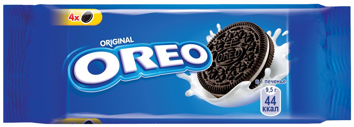 Oreo печенье, 38 г0120710Печенье Oreo любит весь мир.Взрослым и детям нравится забавный способ которым едят Oreo. Покрути+Лизни+Обмакни=Oreo. Попробуйте, это весело и очень легко. C какао и начинкой с ванильным вкусом.Пищевая ценность в 100 г: белки - 4,9 г; углеводы - 68 г, в том числе сахара - 36,5 г; жиры - 20,8, в том числе насыщенные жирные кислоты - 9,7 г; пищевые волокна -1,6 г; натрий - 0,4 г.