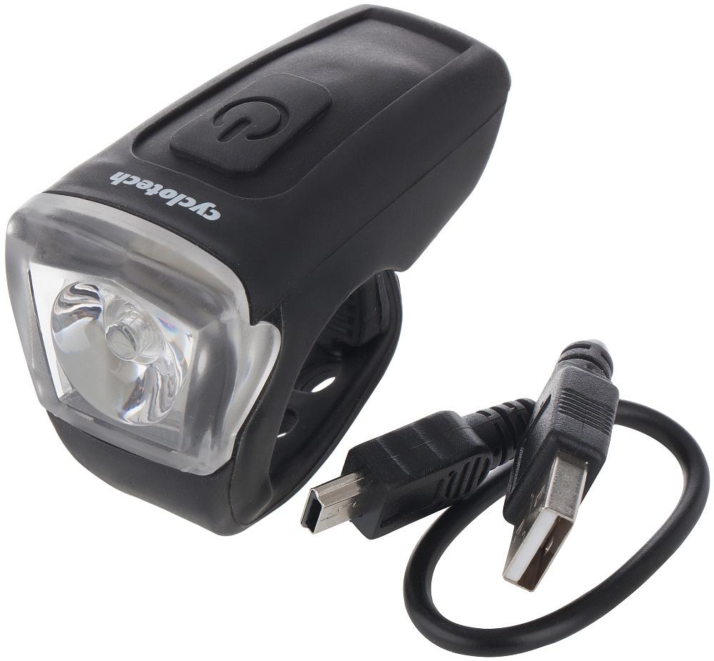 Фонарь велосипедный Cyclotech, передний. CFL-5WP_X-Power400_WПередний велосипедный фонарь Cyclotech с аккумулятором заряжается через мини-USB-порт, шнур в комплекте. Количество светодиодов: 1. Количество режимов работы: 3. Мощность светового потока: 25 люмен.