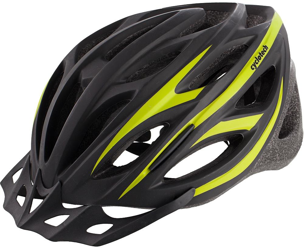 Шлем велосипедный Cyclotech, цвет: черный, зеленый. Размер MZ90 blackМужской велосипедный шлем, изготовленный по технологии OutMold, которая обеспечивает хорошее сочетание невысокой цены и достаточной технологичности. Увеличенное количество вентиляционных отверстий гарантирует отличную циркуляцию воздуха при любой скорости передвижения, сохраняя при этом жесткость шлема. Шлем соответствует международным стандартам безопасности и надежности.,58-62 см