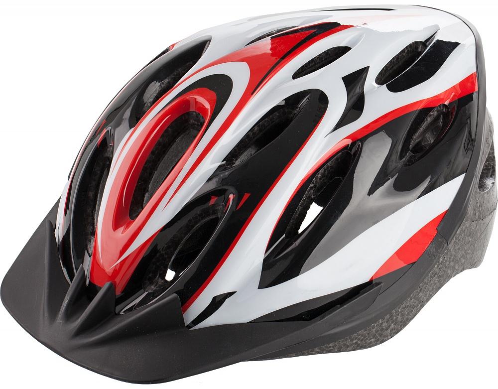 Шлем велосипедный Cyclotech, цвет: черный, красный. Размер MCHLI15W-LВелосипедный шлем, изготовленный по технологии OutMold, которая обеспечивает хорошее сочетание невысокой цены и достаточной технологичности. Увеличенное количество вентиляционных отверстий обеспечивает отличную циркуляцию воздуха на любой скорости при сохранении жесткости шлема. Шлем соответствует международным стандартам безопасности и надежности.