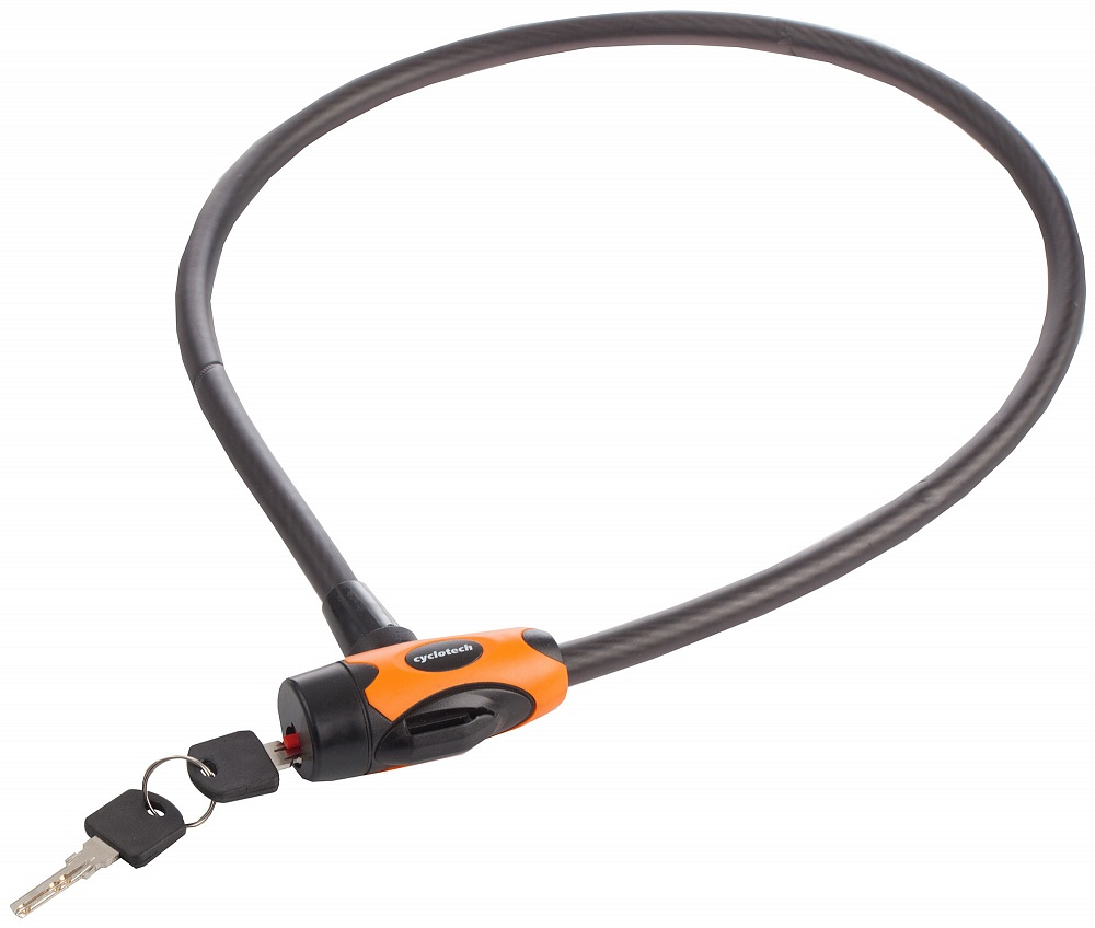 Замок велосипедный Cyclotech, цвет: черный, 1 х 90 смBBL-26Замок с ключами поможет предотвратить кражу велосипеда. Размер 10 мм х 90 см.