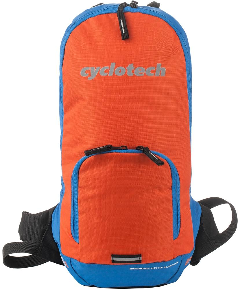 Рюкзак Cyclotech, цвет: голубой, оранжевый, 10 л7292Рюкзак, оснащенный специальными спортивными лямками и отсеком для питьевой системы с возможностью провода шланга на лямку рюкзака. Светоотражающие элементы на внешней поверхности повышают безопасность при движении в темное время суток.