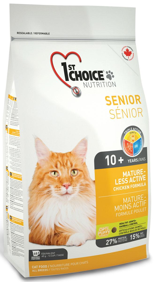 Корм сухой 1st Choice Mature or Less Active, для кошек, цыпленок, 2,72 кг01207101st Choice MATURE OR LESS ACTIVE, эта формула - идеальный выбор для пожилого животного.Обогащенный глюкозамином и хондроитином этот корм улучшает здоровье суставов и облегчает их подвижность.Специальные питательные вещества и антиоксиданты замедляют процесс старения.Идеальный рН-баланс поддерживает здоровье мочевыделительной системы.Здоровье суставов + система вывода шерсти.При покупке 1st Choice Mature or Less Active сухой корм для стареющих и малоактивных кошек (с курицей) Вы можете стать участником дисконтной программы Иванко Доставка. Подробности уточняйте у оператора.Свежая курица27% белок16% жирСуставы +: Способствует укреплению костей и здоровью суставов.рН-контроль мочи: Снижает риск возникновения камней в мочевыделительной системе.Антиоксиданты: Замедляют процесс старения.