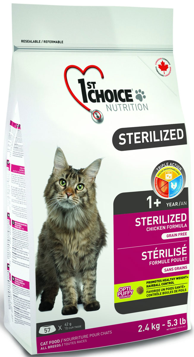Корм сухой 1st Choice Sterilized, для кошек, курица с бататом, 2,4 кг01207102st Choice Формула для стерилизованных взрослых кошек на основе курицы без зерна.Стерилизация у кошек меняет многое. Животное больше не способно к размножению, поэтому возникают гормональные, физиологические и даже эмоциональные изменения, с которыми надо помочь ему справиться.Использование специальной диеты для стерилизованных кошек может эффективно и быстро помочь животному преодолеть эти проблемы после операции.Здоровый вес: L-карнитин и экстракт подсолнечного масла (C.L.A.) помогут сохранить здоровый вес на долгие годы.Протеин+: большой процент свежего куриного мяса гарантирует вашей кошке поддержание мышечной массы без прибавления лишнего веса.Без зерна: беззерновая формула способствует улучшению функции кишечника.Здоровье мочеполовой системы: низкий уровень магния снижает формирование кристаллов в мочевом пузыре.