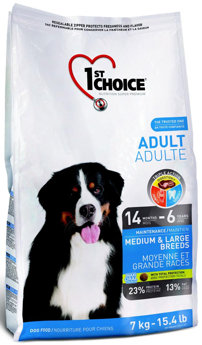 Корм сухой 1st Choice Adult для взрослых собак средних и крупных пород, с курицей, 7 кг102.2025Сухой корм 1st Choice Adult - полноценный сбалансированный корм для собак(от 14 месяцев до 6 лет). Курица - главный ингредиент этой сбалансированной и очень вкусной формулы.Лучшие достижения диетологии помогают собакам средних и крупных пород поддерживать свою жизненную энергию, вес и хорошее физическое состояние.Натуральные пребиотики, такие как экстракт цикория - источник инулина (фрукто-олигосахарид) и дрожжевой экстракт (маннан-олигосахарид) способствуют росту и развитию полезной кишечной микрофлоры. Превосходное сочетание экстракта зеленого чая, быстрорастворимого витамина С, клетчатки, мяты и петрушки освежает дыхание и обеспечивает гигиену зубов и полости рта. Глюкозамин, хондроитин и коллаген поддерживают здоровье суставов и хрящей.Ингредиенты: мука из мяса курицы, дробленый рис, перловая крупа, овсяная крупа, куриный жир (источник жирных кислот Омега-6), в качестве консерванта - смесь токоферолов (источник витамина Е), сушеная мякоть свеклы, измельченная клетчатка, сушеная мякоть томатов, гидролизат куриной печени, цельное семя льна, лецитин, хлорид калия, соль, холинхлорид, кальция пропинат (в качестве консерванта), дрожжевой экстракт, аскорбиновая кислота ( витамин С),таурин, экстракт цикория ( источник инулина), сульфат железа,оксид цинка, ацетат ?-токоферола (источник витамина Е),экстракт Юкки Шидигера, протеинат железа, протеинат цинка, селенит натрия, мононитрат тиамина, мука из водорослей, экстракт зеленого чая, сушеная мята, сушеная петрушка, L-карнитин, экстракт подсолнечного масла, сульфат меди, йодат кальция, пиридоксина гидрохлорид, оксид марганца, протеинат марганца, никотиновая кислота, d-пантотенат кальция, супплемент витамина A, протеинат меди, холикальцеферол ( витамин D3), фолиевая кислота, рибофлавин, бисульфат менадиона никотинамида (витамин K3), биотин, супплемент витамина В12, карбонат кобальта.Товар сертифицирован.